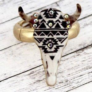 Jewelry - Sante Fe Crystal Steer head Boho Hippie Ring